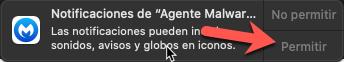 Ventana de notificaciones de Malwarebytes